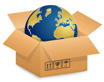 Globe in Cardboard box Royalty Free Stock Photos