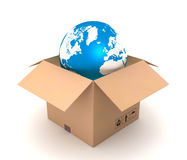 Globe and cardboard box concept 3d illustration Royalty Free Stock Photo