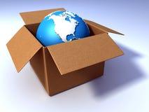 Globe in the cardbox Stock Photos