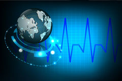 Globe with cardiogram signal. Illustration of globe with cardiogram signal Stock Photography