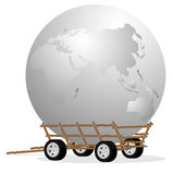 The globe in cart Stock Photography