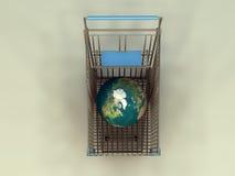 Globe in Cart Royalty Free Stock Photo