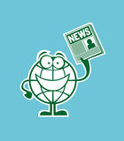 Globe cartoon character with the news in hand Stock Images