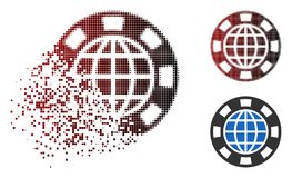 Shredded Pixel Halftone Globe Casino Chip Icon. Globe casino chip icon in dispersed, pixelated halftone and undamaged solid versions. Elements are grouped into royalty free illustration