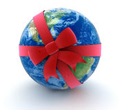 Globe and Celebration Bow (clipping path included) Stock Photography