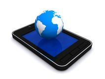 Globe on cellphone. Three dimensional illustration of world globe on modern cellphone with blank blue screen; isolated on white background Stock Photo