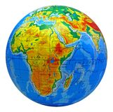 Globe, in a center Africa. Image of earth in a center Africa with inscriptions in Ukrainian language Stock Image