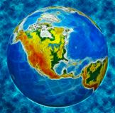 Globe, in a center north America Royalty Free Stock Photos