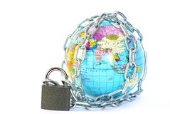 Globe in chain Stock Photo