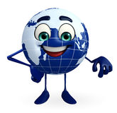 Globe Character with is atanding Stock Photo