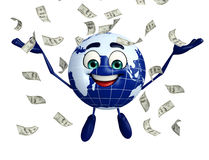 Globe Character with dollars Stock Image