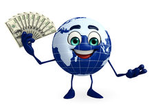 Globe Character with dollars Royalty Free Stock Image