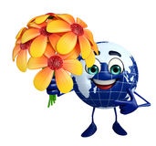 Globe Character with flower Stock Photo