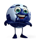 Globe Character is folding hand Stock Photo