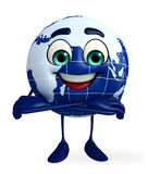 Globe Character is folding hand Royalty Free Stock Photography