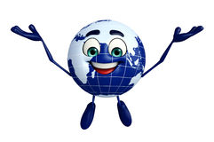 Globe Character is Happy Royalty Free Stock Photo