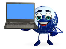 Globe Character with Laptop Royalty Free Stock Images