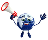 Globe Character with Loudspeaker Royalty Free Stock Photography