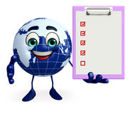 Globe Character with notepad Stock Photo