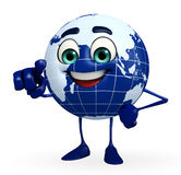 Globe Character is pointing Stock Photography