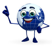 Globe Character is pointing Royalty Free Stock Photo