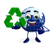 Globe Character with recycle sign Stock Image