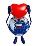 Globe Character with red heart Stock Images