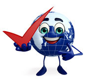 Globe Character with right sign Royalty Free Stock Photo