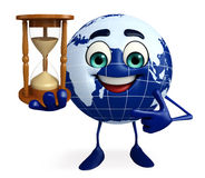 Globe Character with sand clock Royalty Free Stock Photography