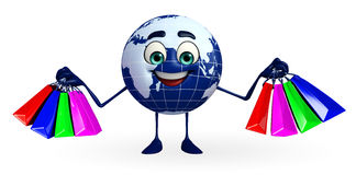 Globe Character with shopping bags Stock Photography