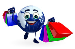 Globe Character with shopping bags Royalty Free Stock Images