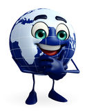 Globe Character with thinking pose Stock Image