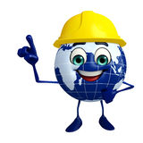 Globe Character with worker hat Royalty Free Stock Images