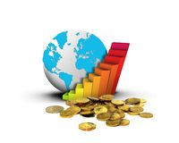 Globe chart and coins Stock Photos