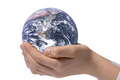 The globe in children's hands Royalty Free Stock Image