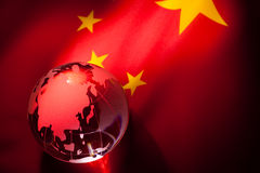 Globe and China Flag Royalty Free Stock Photography