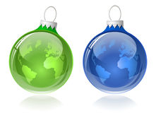 Globe christmas balls Stock Photography