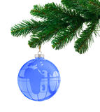 Globe and christmas tree Stock Photography
