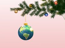 Globe on a christmas-tree. Winter imaginations. Christmas ornaments. 3D Royalty Free Stock Photography