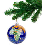 Globe and christmas tree Royalty Free Stock Images