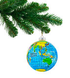 Globe and christmas tree Stock Photo