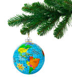 Globe and christmas tree Stock Image