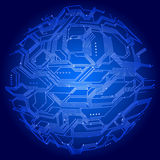 Globe circuit board. Globe with circuit board texture in blue color Royalty Free Stock Photos