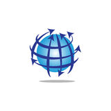 Globe with circular lines and arrows Royalty Free Stock Photo