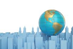 Globe on city.3D illustration. Globe on city. 3D illustration royalty free illustration
