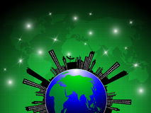 Globe city silhouette abstract background. EPS 10 Vector Stock Photography