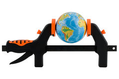 The globe clamped in a manual clamp Stock Photography
