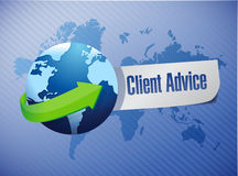 Globe client advice sign illustration design Royalty Free Stock Photography