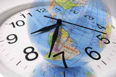 Globe and Clock Stock Photo