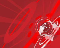 Globe and clock background. Red globe clock background illustration stock illustration